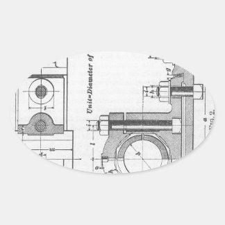 Engineering Blueprint Machinery Vintage Oval Sticker