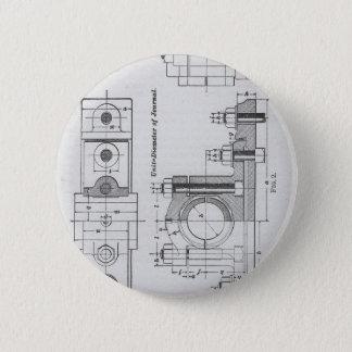 Engineering Blueprint Machinery Vintage Pinback Button