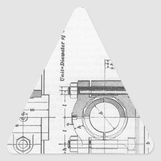 Engineering Blueprint Machinery Vintage Triangle Sticker