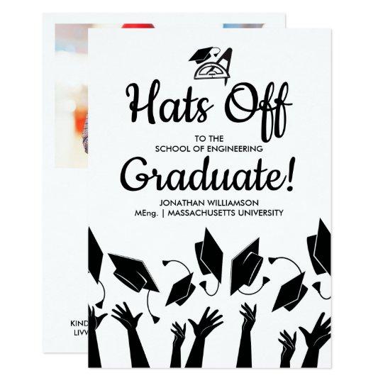 Engineering grad photo hats off graduation party invitation zazzle engineering grad photo hats off graduation party invitation filmwisefo