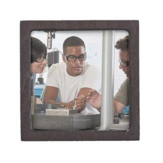 Engineering professor demonstrating a coordinate keepsake box