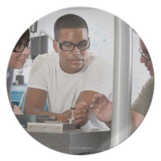 Engineering professor demonstrating a coordinate dinner plates