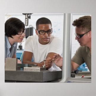 Engineering professor demonstrating a coordinate poster