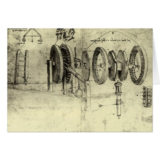 Engineering Sketch of a Wheel by Leonardo da Vinci Card