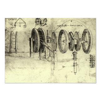"Engineering Sketch of a Wheel by Leonardo da Vinci 5"" X 7"" Invitation Card"