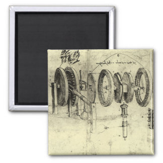 Engineering Sketch of a Wheel by Leonardo da Vinci Magnet