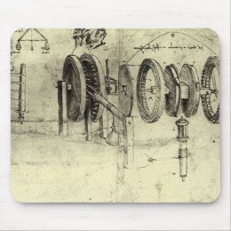 Engineering Sketch of a Wheel by Leonardo da Vinci Mouse Pad