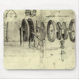 Engineering Sketch of a Wheel by Leonardo da Vinci Mouse Pad