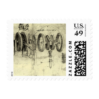 Engineering Sketch of a Wheel by Leonardo da Vinci Postage Stamp