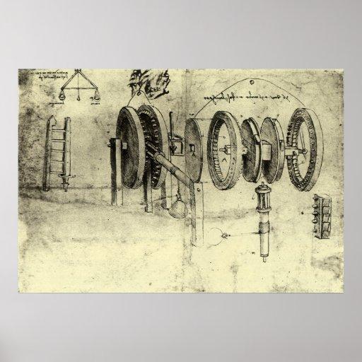 Engineering Sketch of a Wheel by Leonardo da Vinci Print