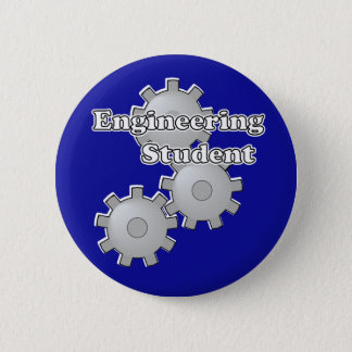 Engineering Student on Blue Pinback Button