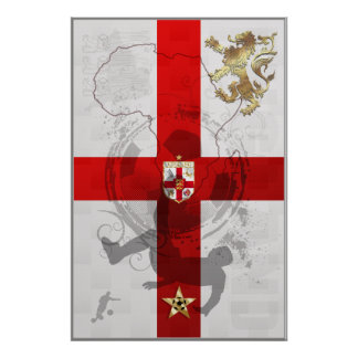 England Africa 3 Lions Large Football Poster
