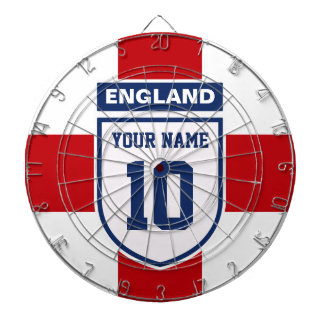 England Allegiance Fans - Customizable Name Number Dartboard With Darts