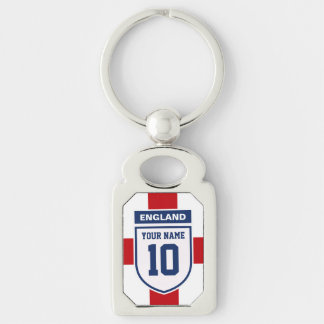 England Allegiance Fans - Customizable Name Number Silver-Colored Rectangular Metal Keychain