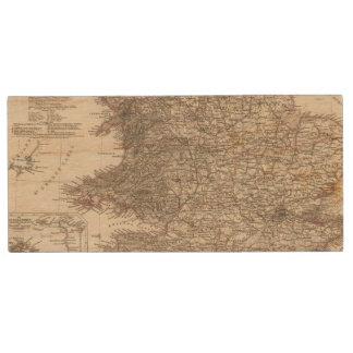 England Atlas Map Wood USB 2.0 Flash Drive