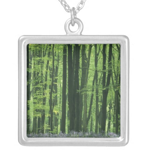 England, Beech forest & Bluebells Square Pendant Necklace