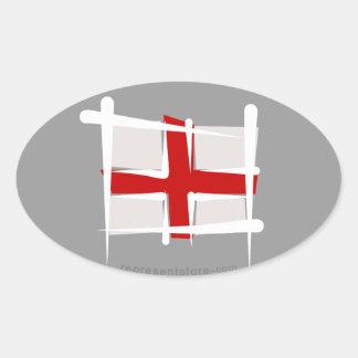 England Brush Flag Oval Sticker