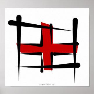 England Brush Flag Poster