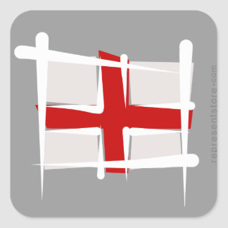 England Brush Flag Square Sticker