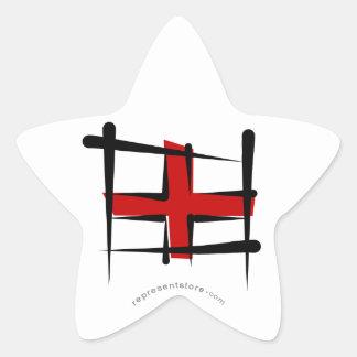 England Brush Flag Star Sticker