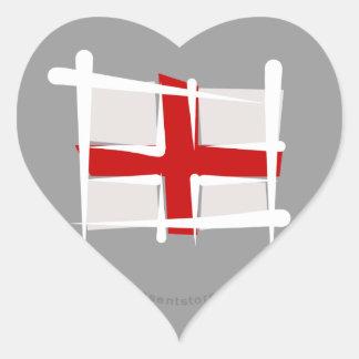 England Brush Flag Heart Sticker