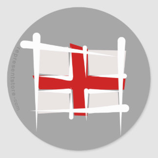 England Brush Flag Classic Round Sticker