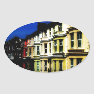 England Building Reflections Blue Digital Art Oval Sticker