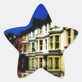 England Building Reflections Blue Digital Art Star Sticker