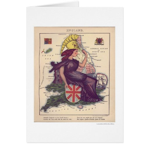 England Caricature Map 1868 Cards