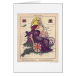 England Caricature Map 1868 Greeting Card