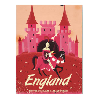 England castle and knight vintage travel poster card