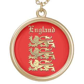 England - Coat of Arms Round Pendant Necklace