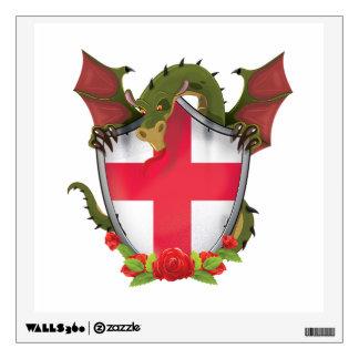 England Dragon and English Flag shield Wall Sticker