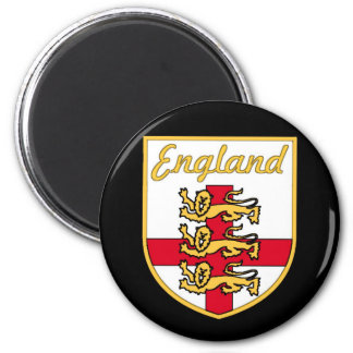 England, English, 3 Lions Badge or Crest,Black Bac 2 Inch Round Magnet