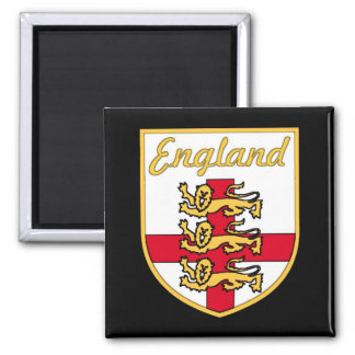 England, English, 3 Lions Badge or Crest,Black Bac 2 Inch Square Magnet