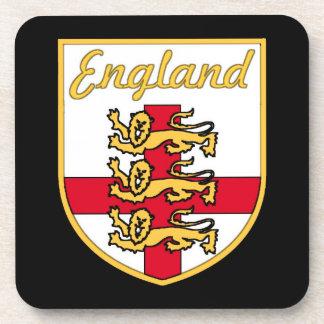 England, English, 3 Lions Badge or Crest,Black Bac Coaster