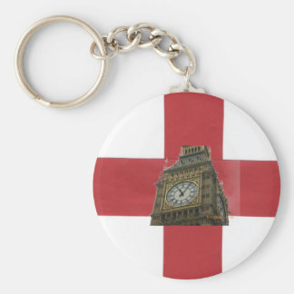 England Flag and Big Ben Basic Round Button Keychain