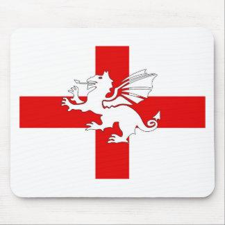 England Flag and Dragon Mouse Pad