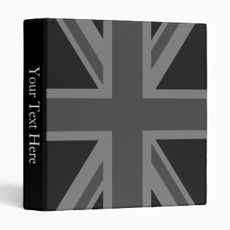 England Flag Black Gray 3 Ring Binder