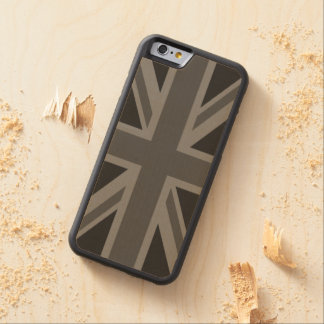 England Flag Black Gray Carved® Maple iPhone 6 Bumper Case