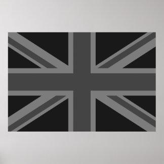 England Flag Black Gray Poster
