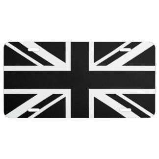 England Flag Black White License Plate