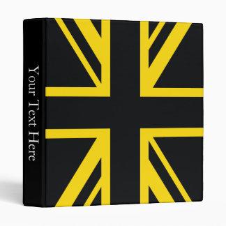 England Flag Black Yellow 3 Ring Binder