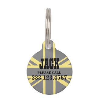 England Flag Black Yellow Pet Name Tag