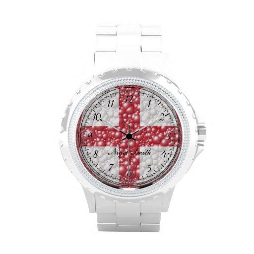 England Flag Bubble Textured Wrist Watch