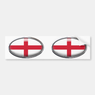 England Flag in Glass Oval Bumper Sticker