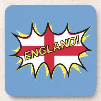 England Flag Kapow Comic Style Star Beverage Coaster