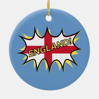 England Flag Kapow Comic Style Star Ceramic Ornament