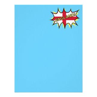 England Flag Kapow Comic Style Star Letterhead