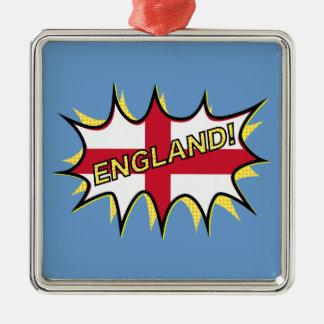 England Flag Kapow Comic Style Star Metal Ornament